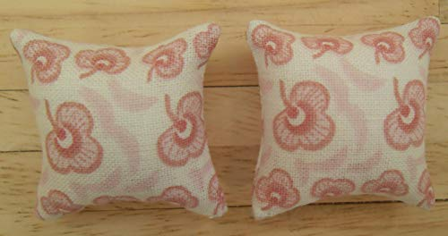 1//24th Scale Dolls House Printed Fabric Speckled Design Cushions in Pale Pink
