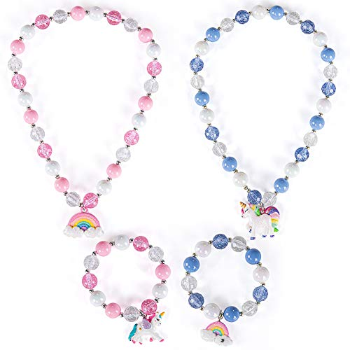 2 Sets Princess Necklace Bracelet with Cute Unicorn Rainbow for Girls Stretchy Chunky Costume Dress up Party Favor Unicorn Jewelry Gift for Little Girl Toddlers Kids(with Gift Box)