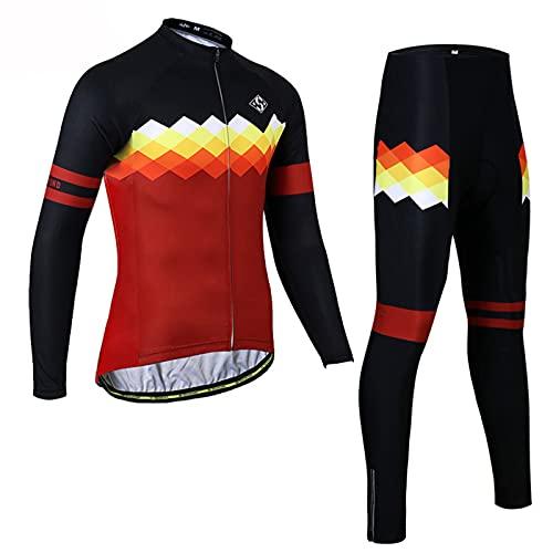 Conjunto de Maillot de Ciclismo para Hombre, Manga Larga + 3D Acolchado Pantalones Cortos de Bicicleta Transpirable de Secado Rápido 3 Bolsillos/Otoño/Primavera,D-1,W8,M