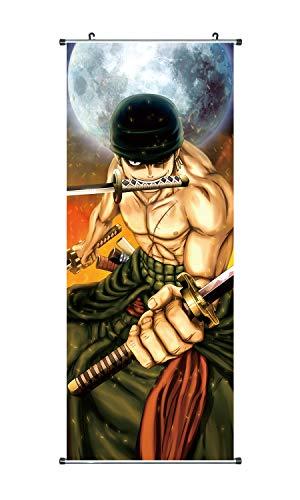 CoolChange Großes One P. Rollbild/Kakemono aus Stoff | Poster 100x40cm | Motiv: Lorenor Zorro
