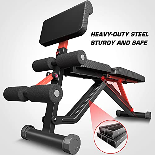 pelpo Weight Bench for Full Body Workout, Adjustable Strength Training Bench Press in Home Gym, Fast Folding Roman Chair Holds up to 330LBS, Black