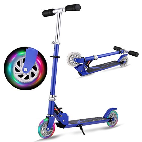 Hikole Scooter for Kids | Scooters Foldable Portable Adjustable Height Kick Scooter with 2 LED Light Up PU Flashing Wheels, Good Gifts for Toddlers Boys Girls Kids Age 4-12 Years Old