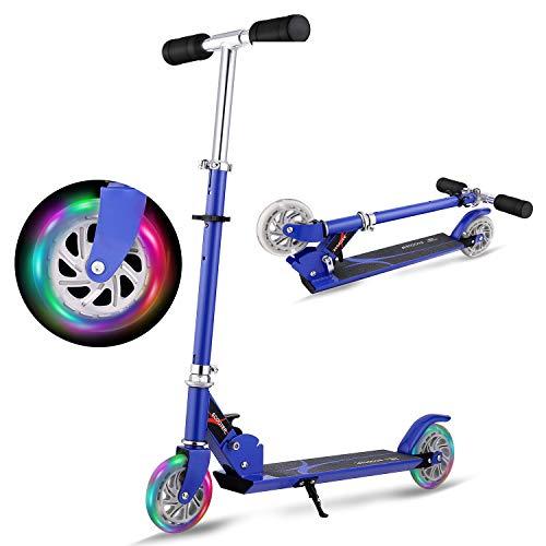 WeSkate Tretroller Kinderroller Verstellbare Kinderscooter Cityroller mit 2 Große Leuchträder, Klappbar Tragbar Scooter Roller für Kinder Jüngere Mädchen ab 3-12 Jahre bis 50KG (Blau1)