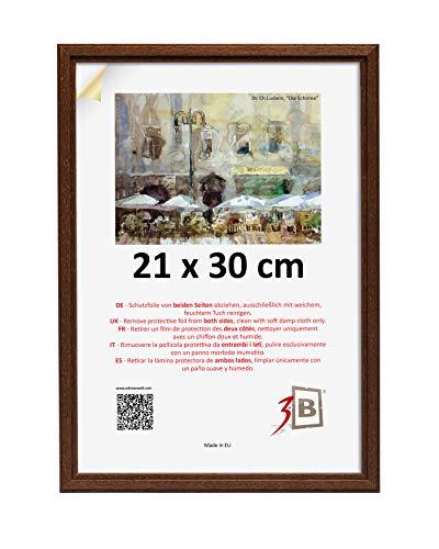 3B Cornice Jena 21x30 cm - Marrone Scuro - in Legno, Foto, Cornice da Parete con Vetro Poliestere (Foglio di plastica)