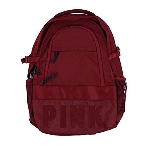 Victoria's Secret Pink Collegiate Backpack Burgundy Ruby Dark Red School Book Bag