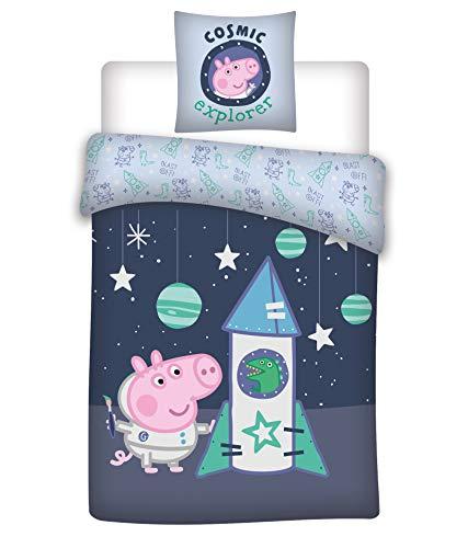 Arle-Living Baby Bettwäsche Set Wende Motiv: Peppa Pig George - renforcé 100x135 cm + 40x60 cm + 1 Spannbettlaken 60x120-70x140 cm (George Rakete, Mit Laken: weiß)
