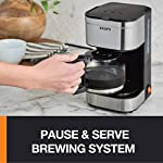KRUPS Simply Brew Compact Filter Drip Coffee Maker, 5-Cup, Silver 8 PERFECT FOR 1 OR 2: Brews up to 5 cups of coffee/ 750 ml/ 25 fl ounces. CONVENIENT: Allows you to pour a cup of coffee while brewing and automatically keeps your coffee warm. SIMPLE AND EASY TO USE: Coffee pot with no drip spout, which controls the mess; easy On/Off button to start brewing and turn off the brewer; and a conveniently located water tank.