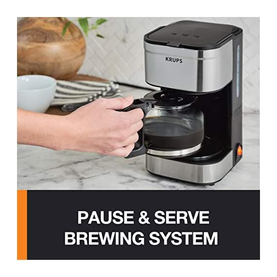 KRUPS Simply Brew Compact Filter Drip Coffee Maker, 5-Cup, Silver 2 PERFECT FOR 1 OR 2: Brews up to 5 cups of coffee/ 750 ml/ 25 fl ounces. CONVENIENT: Allows you to pour a cup of coffee while brewing and automatically keeps your coffee warm. SIMPLE AND EASY TO USE: Coffee pot with no drip spout, which controls the mess; easy On/Off button to start brewing and turn off the brewer; and a conveniently located water tank.