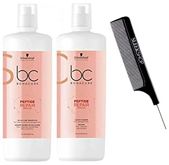 Schwarzkopf BC Bonacure REPAIR RESCUE SHAMPOO & CONDITIONER Duo SET for FINE TO NORMAL DAMAGED HAIR  with Sleek Steel Pin Tail Comb   33.8 oz / 1000 ml - LARGE LITER DUO KIT