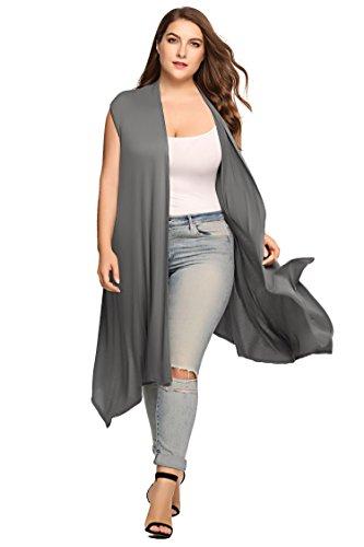 Zeagoo Womens Plus Size Sleeveless Cardigan Sweater Vest Solid Asymetric Hem Open Front Soft Long Maxi Cardigan, Dark Grey, 24 Plus