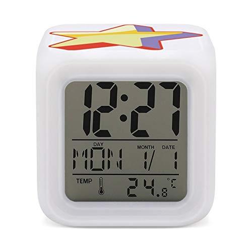 St-even Un-iverse Digitaler Wecker mit elektronischem Display, Schlafzimmer-Farbe, leuchtende Nachttischuhr, Anzeige von Umgebungstemperatur, Uhrzeit und Datum