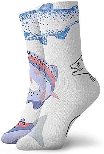 Tammy Jear Chaussettes de compression antidérapantes dessinées à la main pour truite arc-en-ciel Cozy Athletic 11,8 pouces chaussettes pour hommes, femmes, enfants