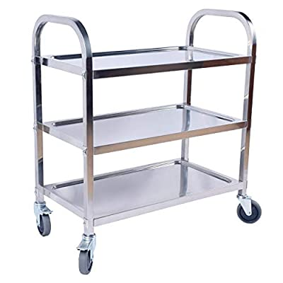 DRM Stainless Steel Utility Cart 3 Tier Kitchen Trolley Cart Service Cart Kitchen Car Shelf Utility with Wheels for Restaurant Hotels Home, 75 x 40 x 83.5CM from DRM