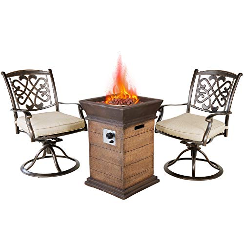Casual World 19 inch Outdoor Propane Fire Pit Table Set with 2 Deep Cushioned Aluminum Swivel Rocker Chairs, 40000 BTU Patio Gas...