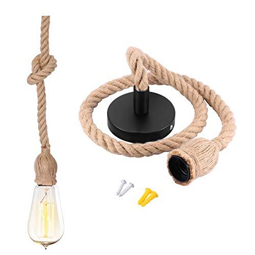 100cm Vintage Hängelampe Seilampe Hanfseil Kronleuchter Vintage Industriestil Pendelleuchte Hängeleuchte E27 für Küche, Bar, Fundament, Lager, Bauernhof (ohne Birne)