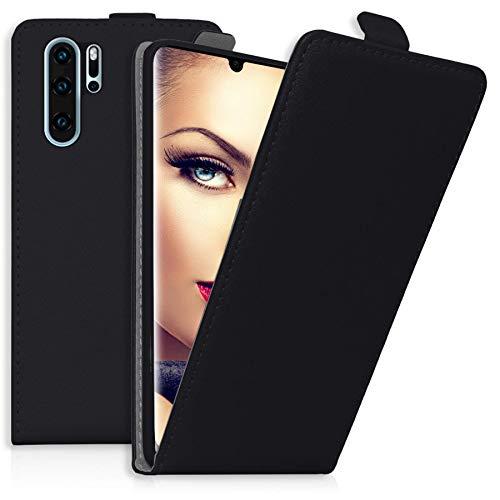 Preisvergleich Produktbild mtb more energy® Flip-Case Tasche für Huawei P30 Pro,  P30Pro New Edition (6.47'') - Schwarz - Kunstleder - Schutz-Tasche Cover Hülle