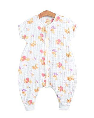 Chilsuessy 0.5 Tog Baby Kleinkinder Schlafsack 100% Baumwolle Musselin Sommer Schlafsäcke Kurzarm Decke Sleep Bag, Lila, S/Koerpergroesse 60-75cm