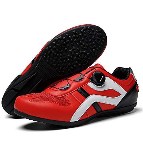 MTB Mountain Bicycle Men Women Mountainbike Synthetic Rubber Breathable Waterproof Lockless Cycling Shoes 39-46 4 Colors,Red-46