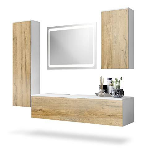 Conjunto de Muebles para baño Beach, Cuerpo en Blanco Mate/Frentes en Roble Natural, incluidos Espejo con LED