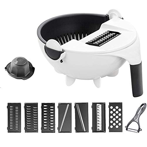 New 11 in 1 Multifunction Magic Rotate Vegetable Cutter with Drain Basket Large Capacity Vegetables Chopper Veggie Shredder Grater Portable Slicer Kitchen Tool with 8 Dicing Blades