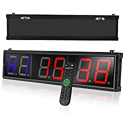 Seesii Interval Timer,LED Programmable Crossfit Interval Wall Timers Fitness Training Gym Timer Count Down/Up Clock Stopwatch with Wireless Remote for Crossfit,Tabata,EMOM,MMA (27.5x6.2 inch)