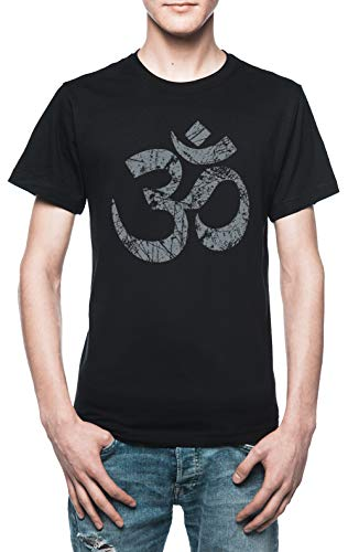Vendax Om Yoga Espiritual Símbolo En Afligido Estilo Camiseta Hombre Negro