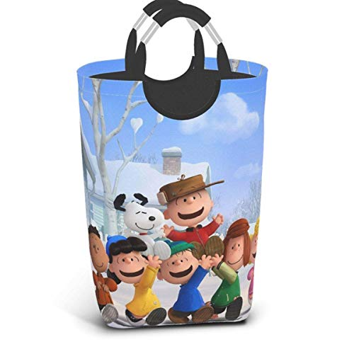 Ives Jean Collapsible Laundry Hamper Snoopy Laundry Basket Large, Collapsible Fabric Laundry Hamper, Waterproof Foldable Clothes Bag, Travel Folding Washing Bin (L)