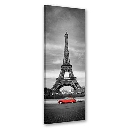 Wanddeko Eiffelturm Leinwandbild Kunstdruck Paris schwarz-weiß 30x90 cm