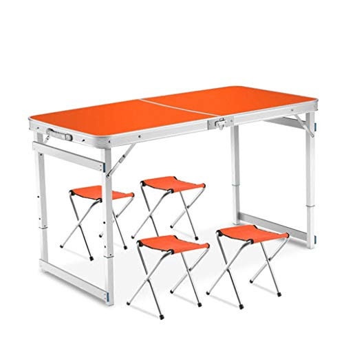 Oikupe Heimgebrauch Garten Tragbarer Freizeittisch Leichter Klappgartengarten Balkon Camping Tisch Picknicktisch Esstisch,Orange