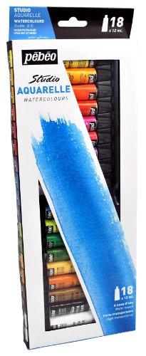 Pebeo Watercolor, Fine Watercolor, Set of 18 x 12 ml Tubes