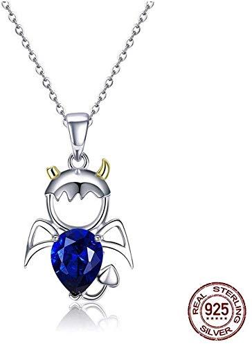 Stijlvolle eenvoud sterling zilveren ketting schattig platina vergulde diamant hanger duivel saffier jeugd persoonlijkheid, MN