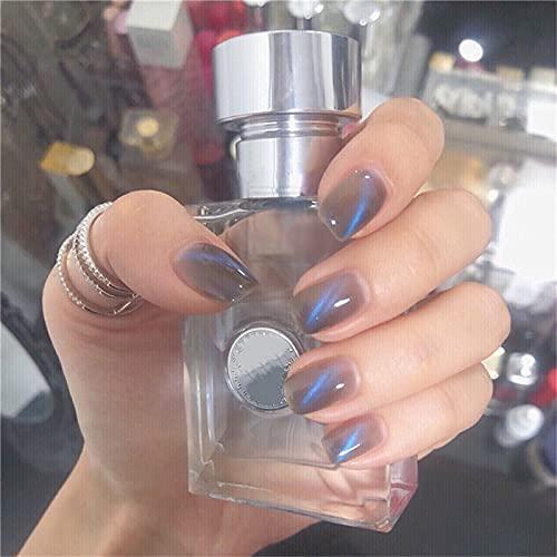 Patch oeil de chat mystérieux avec gomme à la gelée (24 pièces),patch ongle imperméable amovible, autocollants de vernis à ongles réutilisables,ensembles d'art de faux ongles diamant 3D (Glace bleue)