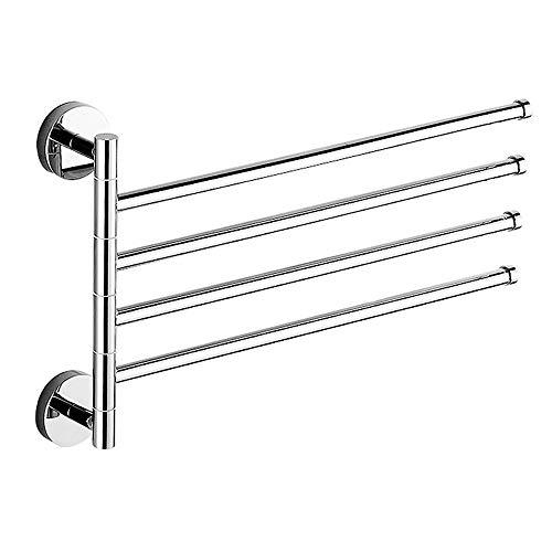Toallero giratorio de cobre barra de toalla móvil para baño simple toallero de cuatro barras herrajes para baño colgante material de acero inoxidable se puede girar 180 grados, no es fácil de oxidar
