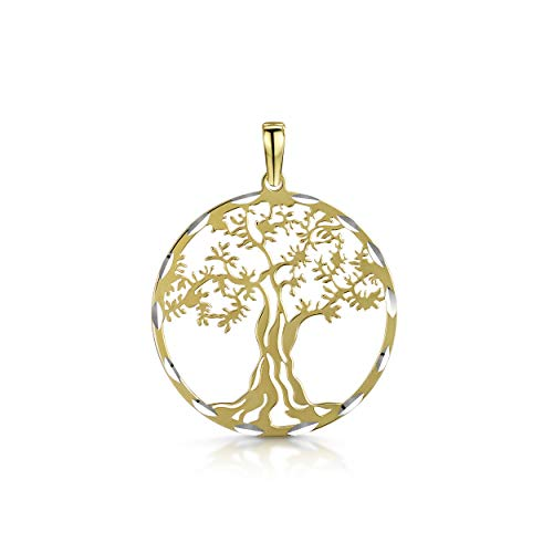 Amberta Joyas - Colgante Árbol de la Vida en Plata de Ley 925 Chapado en Oro Amarillo para Mujer - Árbol de la Vida Ancestral Chapado en Oro Amarillo - Amuleto Protector