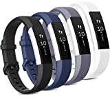 Tobfit 4 Pack Bands Compatible with Fitbit Alta/Alta HR Bands, Soft Sport Silicone Replacement Wristbands for Women Men (Small, Black/Blue/Gray/White)