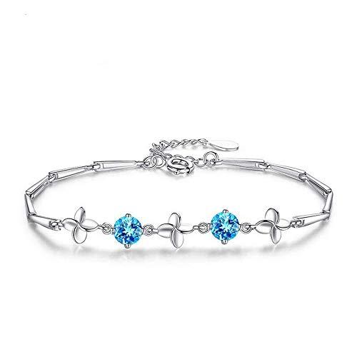 Pulsera Clover para mujer de plata de ley 925, aguamarina azul, circonita, cadena de 16 + 3 cm, ajustable, sin alérgenos, joya de regalo de cumpleaños para madre, esposa, novia