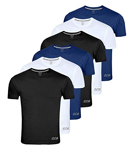 AWG - All Weather Gear Men's Dryfit Polyester Round Neck Half Sleeve T-Shirt (Mulitcolour, X-Large) - Pack of 6