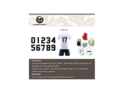 Fanbrilliant 0 to 9 Numbers 8 inch Tall for Sports T-Shirt Jersey Iron on Heat Transfer Numbers (Black)