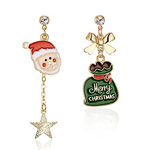QTSUANNAI Pendientes de Navidad asimétricos para mujer – Campanas de alce de árbol de Navidad, pendientes de Papá Noel para mujeres y niñas, verde Santa Claus