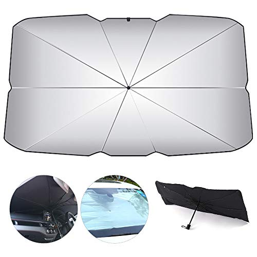 ODOMY Ombrello Parasole per Auto Anteriore Ombrello Raggi Anti-UV e Protezione Parasole Pieghevole per Auto Camion SUV (65x125cm)