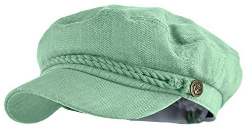 Deewang Gorra clásica de Newsboy con diseño de Pescador Griego - Verde - Talla única