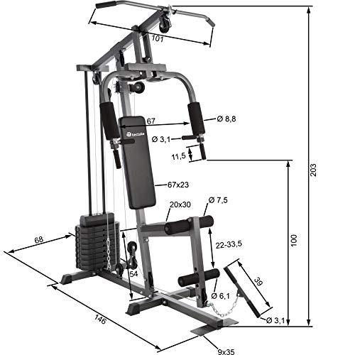 TecTake Multiestación Maquina de musculación | Módulo de Mariposa | Estribo para piernas | 8x4,5 kg | Barra - Varios Modelos (Typ 1 | No. 402756)