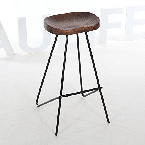 FEIFEI Tabouret de bar en bois massif + fer style nordique chaise de salle à manger de style haut tabouret (Couleur : 01)