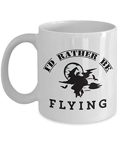 BridgetWhy50 Ik zou liever vliegen mok, 11 oz keramische witte koffie mokken, Werelden Okayest Jet Pilot Nieuwigheid geschenken, unieke thee bekers voor piloot, Grootste geschenken