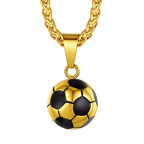 Richsteel Colgante Futbol Dorado con Collar 51cm + 5cm Extensor