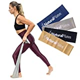 Natural Pilates Flex Band Set, 4 Levels of Resistance, Latex Bands for Strengthening Full-Body, Upper Body, Lower Body, Core