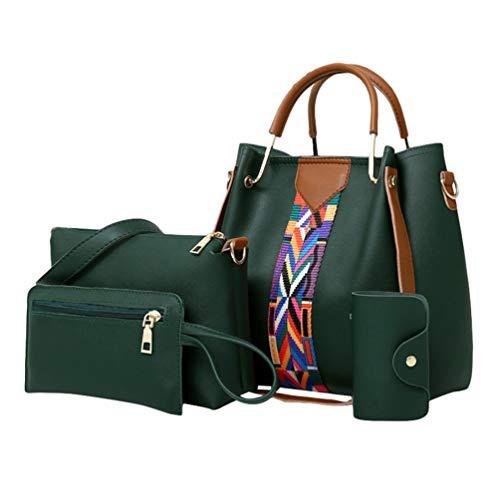 QitunC Bolsos Bandolera para Mujer Bolso de Mano Bolso de Hombro y Clutches Monedero de la Señora de Juego de Cuatro Piezas (Verde, 4Pcs)