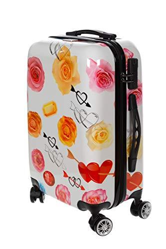Birendy Reisekoffer Polycarbonat Hartschalen Hardcase Trolley mit Zahlenschloss Koffer Kofferset 4 Rollen einfacher Transport (107-Weiß Rose, Koffer XXL 74x48cm)