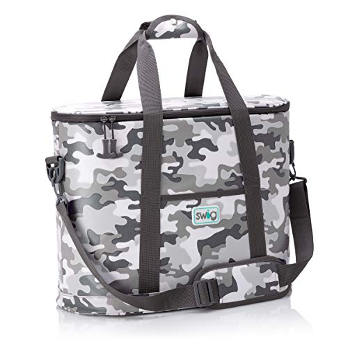 Swig Life Cooli Family Cooler Bag, Large, Lightweight, Leak Proof Lining, Waterproof, and Soft Insulated Beach Bag with Shoulder Strap, Outside Pockets, and Air-Tight Zipper in Incognito Camo Print