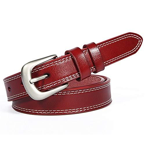 Cinturón de Ms Cinturón de cuero de cuero de la hebilla de la hebilla de la hebilla de los pin de la mujer para las damas de la cinta flaca de la hebilla de plata de las señoras para el vestido jeans